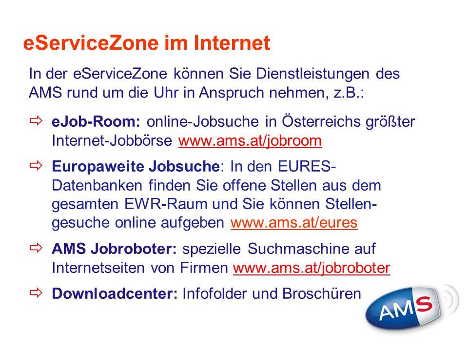 eServiceZone im Internet  eJob-Room: online-Jobsuche in Österreichs größter Internet-Jobbörse www.ams.at/jobroomwww.ams.at/jobroom  Europaweite Jobs