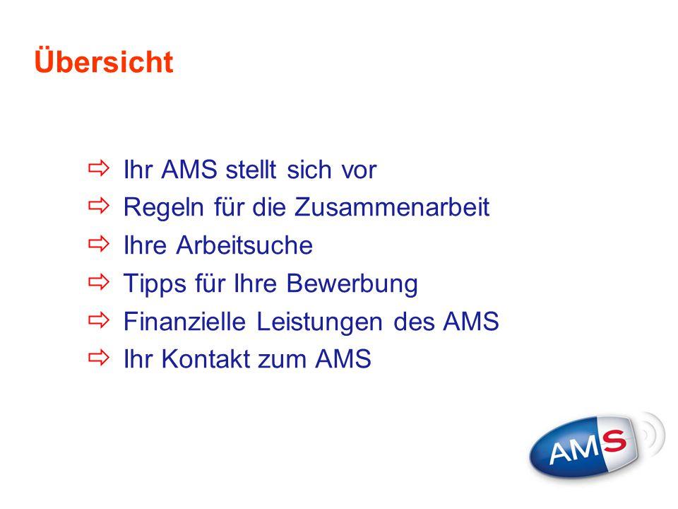 Übersicht  Ihr AMS stellt sich vor  Regeln für die Zusammenarbeit  Ihre Arbeitsuche  Tipps für Ihre Bewerbung  Finanzielle Leistungen des AMS  I