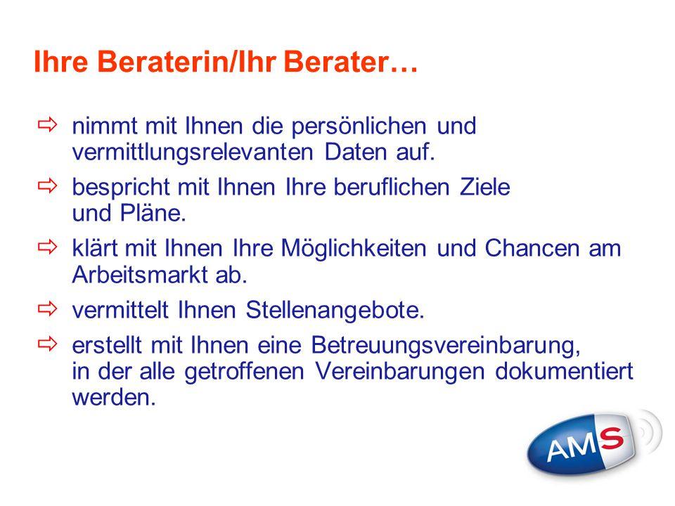 eServiceZone im Internet  eJob-Room: online-Jobsuche in Österreichs größter Internet-Jobbörse www.ams.at/jobroomwww.ams.at/jobroom  Europaweite Jobsuche: In den EURES- Datenbanken finden Sie offene Stellen aus dem gesamten EWR-Raum und Sie können Stellen- gesuche online aufgeben www.ams.at/eures  AMS Jobroboter: spezielle Suchmaschine auf Internetseiten von Firmen www.ams.at/jobroboter  Downloadcenter: Infofolder und Broschüren In der eServiceZone können Sie Dienstleistungen des AMS rund um die Uhr in Anspruch nehmen, z.B.:
