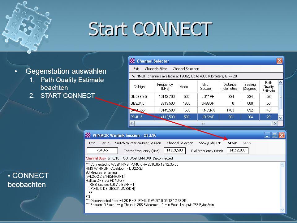Start CONNECT Gegenstation auswählen 1.Path Quality Estimate beachten 2.START CONNECT CONNECT beobachten