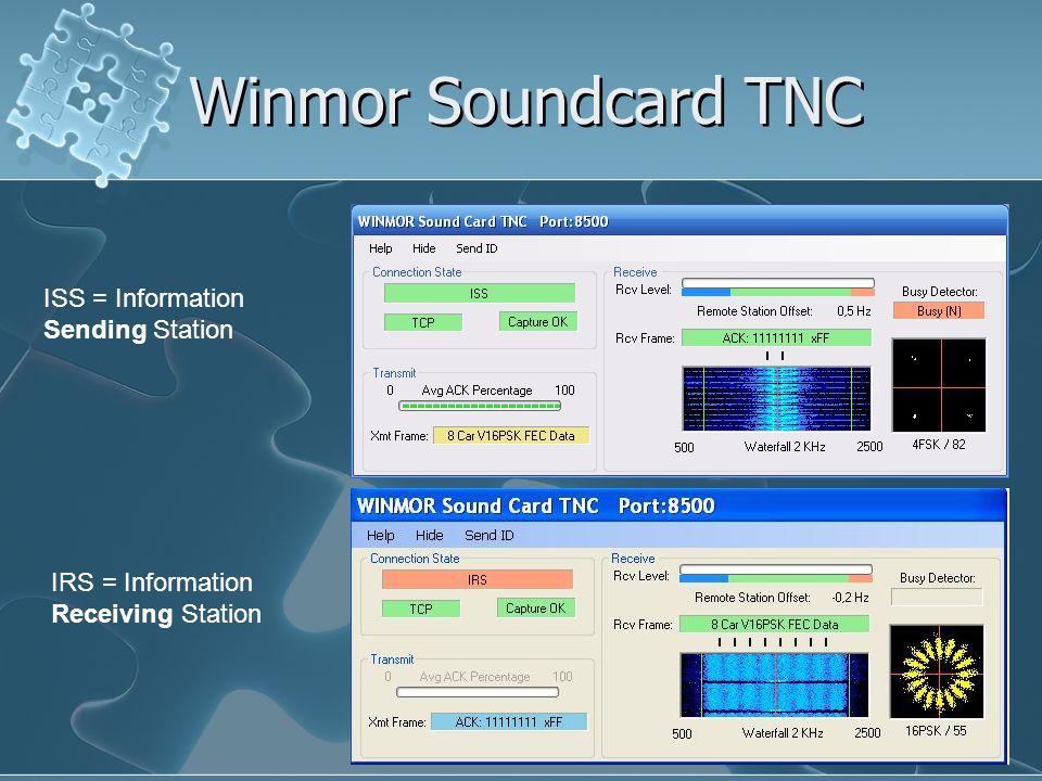 Winmor Soundcard TNC ISS = Information Sending Station IRS = Information Receiving Station