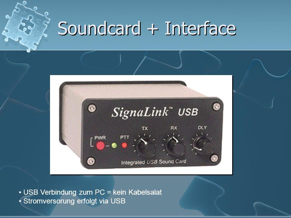 Soundcard + Interface USB Verbindung zum PC = kein Kabelsalat Stromversorung erfolgt via USB