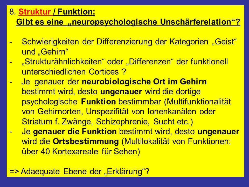 """8. Struktur / Funktion: Gibt es eine """"neuropsychologische Unschärferelation""""? -Schwierigkeiten der Differenzierung der Kategorien """"Geist"""" und """"Gehirn"""""""