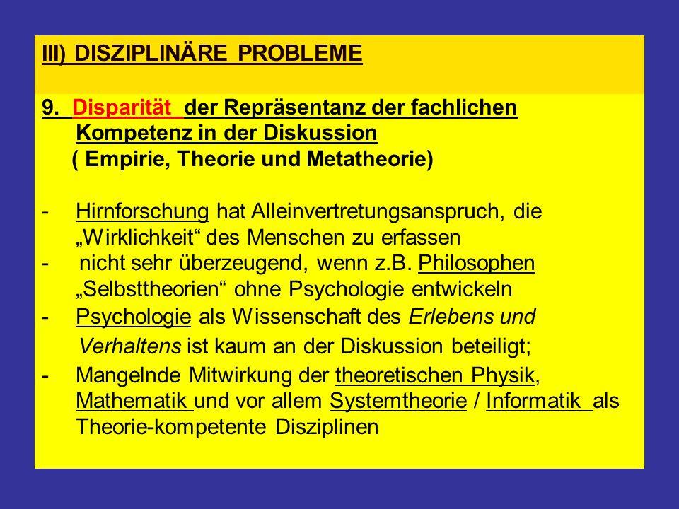 III) DISZIPLINÄRE PROBLEME 9. Disparität der Repräsentanz der fachlichen Kompetenz in der Diskussion ( Empirie, Theorie und Metatheorie) - Hirnforschu