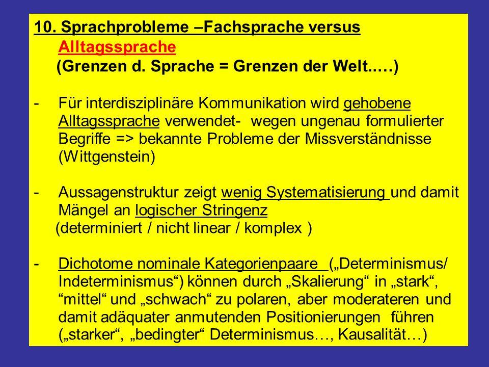 10. Sprachprobleme –Fachsprache versus Alltagssprache (Grenzen d. Sprache = Grenzen der Welt..…) -Für interdisziplinäre Kommunikation wird gehobene Al