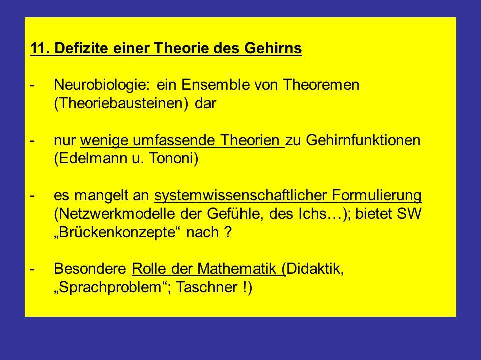 11. Defizite einer Theorie des Gehirns -Neurobiologie: ein Ensemble von Theoremen (Theoriebausteinen) dar -nur wenige umfassende Theorien zu Gehirnfun