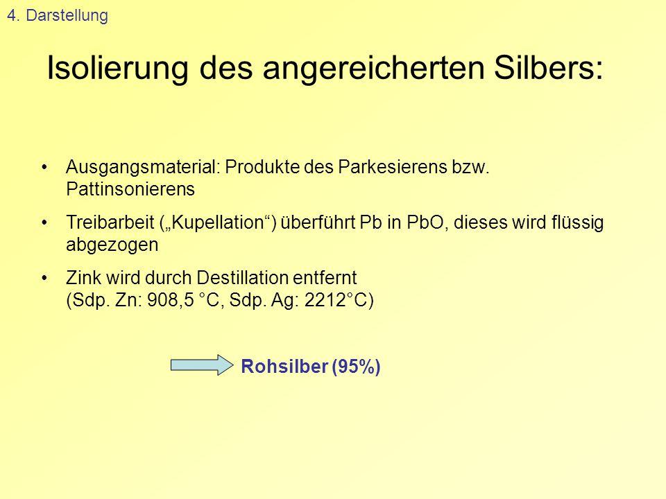 """Isolierung des angereicherten Silbers: 4. Darstellung Ausgangsmaterial: Produkte des Parkesierens bzw. Pattinsonierens Treibarbeit (""""Kupellation"""") übe"""