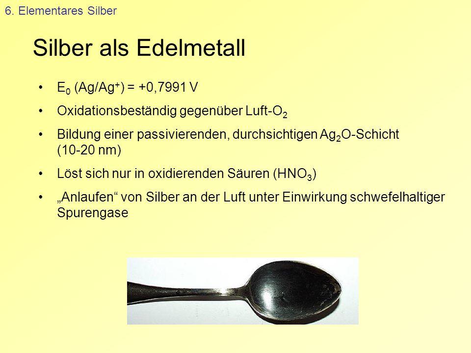Silber als Edelmetall 6. Elementares Silber E 0 (Ag/Ag + ) = +0,7991 V Oxidationsbeständig gegenüber Luft-O 2 Bildung einer passivierenden, durchsicht