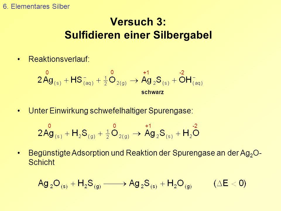 Versuch 3: Sulfidieren einer Silbergabel 6. Elementares Silber Reaktionsverlauf: Unter Einwirkung schwefelhaltiger Spurengase: Begünstigte Adsorption