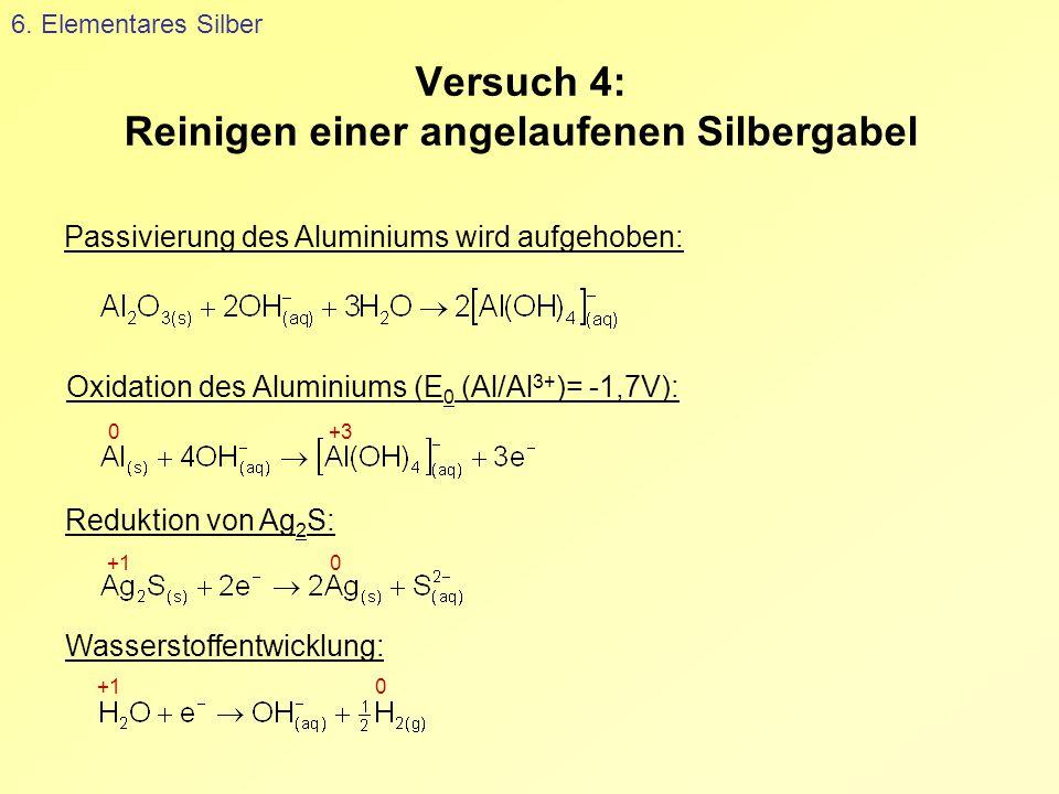 Versuch 4: Reinigen einer angelaufenen Silbergabel 6. Elementares Silber Passivierung des Aluminiums wird aufgehoben: Oxidation des Aluminiums (E 0 (A