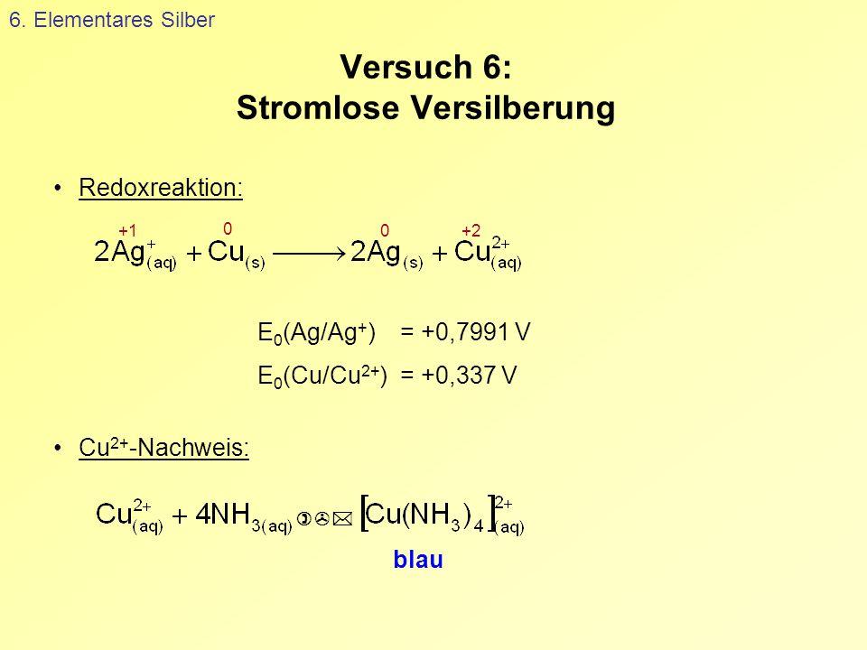 Versuch 6: Stromlose Versilberung 6. Elementares Silber  blau Cu 2+ -Nachweis: E 0 (Ag/Ag + ) = +0,7991 V E 0 (Cu/Cu 2+ ) = +0,337 V Redoxreaktion: