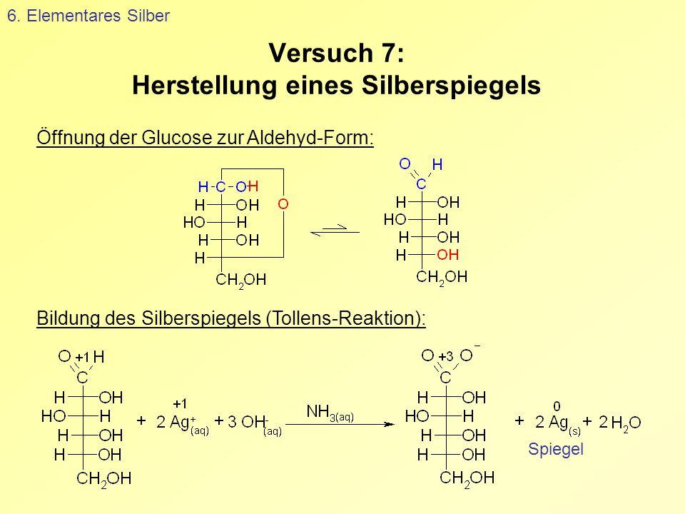 Versuch 7: Herstellung eines Silberspiegels 6. Elementares Silber Spiegel Öffnung der Glucose zur Aldehyd-Form: Bildung des Silberspiegels (Tollens-Re