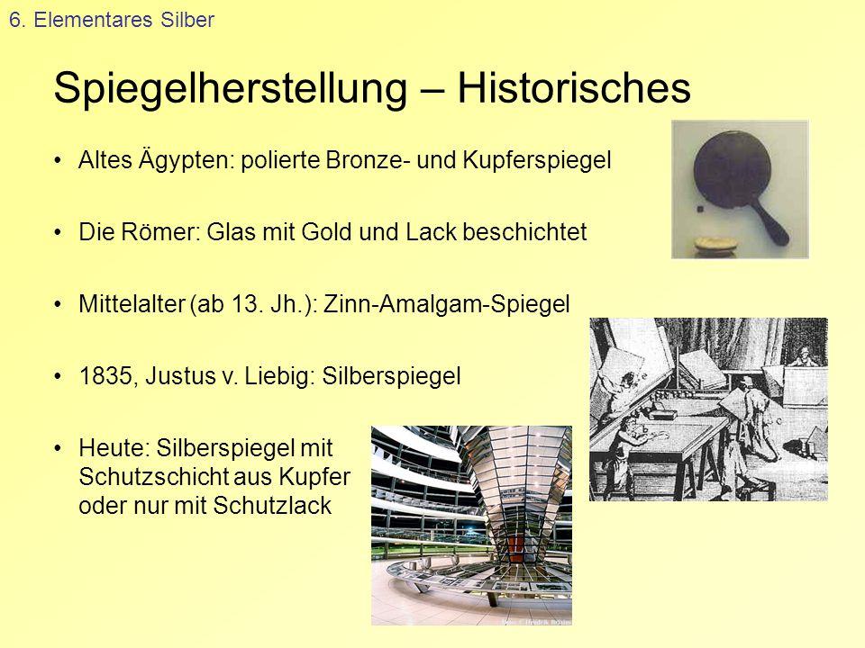 Spiegelherstellung – Historisches 6. Elementares Silber Altes Ägypten: polierte Bronze- und Kupferspiegel Die Römer: Glas mit Gold und Lack beschichte
