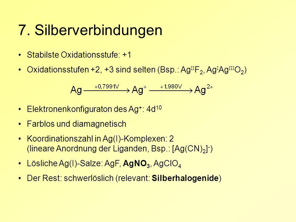 7. Silberverbindungen Stabilste Oxidationsstufe: +1 Oxidationsstufen +2, +3 sind selten (Bsp.: Ag II F 2, Ag I Ag III O 2 ) Elektronenkonfiguraton des