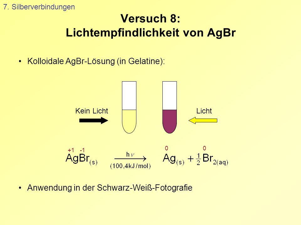 Versuch 8: Lichtempfindlichkeit von AgBr 7. Silberverbindungen Kolloidale AgBr-Lösung (in Gelatine): LichtKein Licht Anwendung in der Schwarz-Weiß-Fot