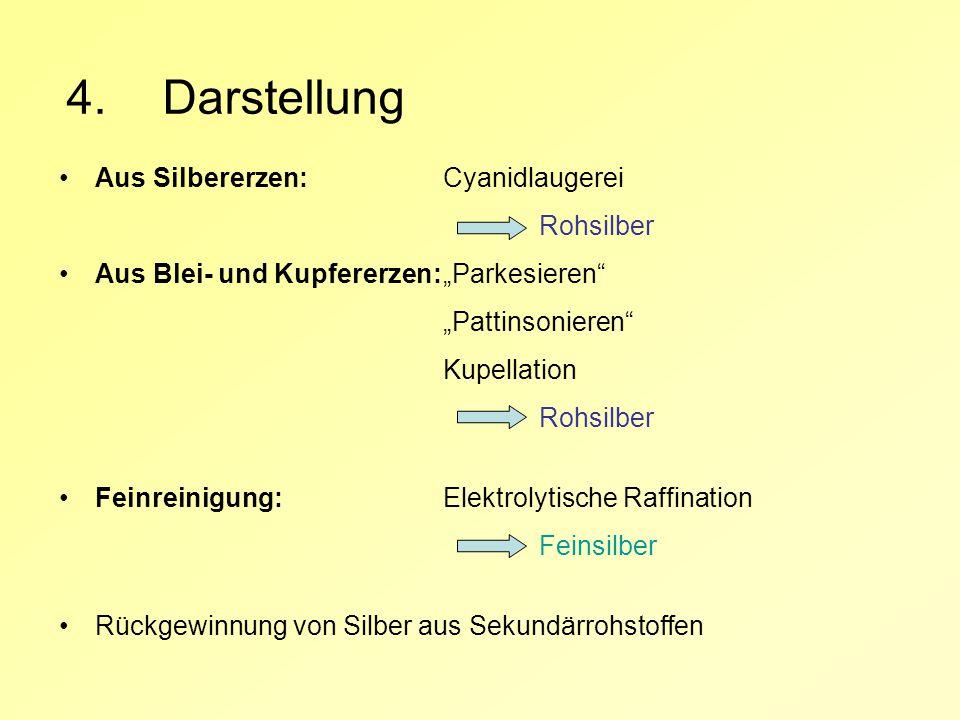 """4.Darstellung Aus Silbererzen: Cyanidlaugerei Rohsilber Aus Blei- und Kupfererzen:""""Parkesieren"""" """"Pattinsonieren"""" Kupellation Rohsilber Feinreinigung:"""