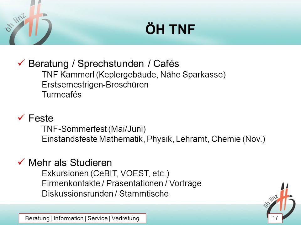 Beratung / Sprechstunden / Cafés TNF Kammerl (Keplergebäude, Nähe Sparkasse) Erstsemestrigen-Broschüren Turmcafés Feste TNF-Sommerfest (Mai/Juni) Eins
