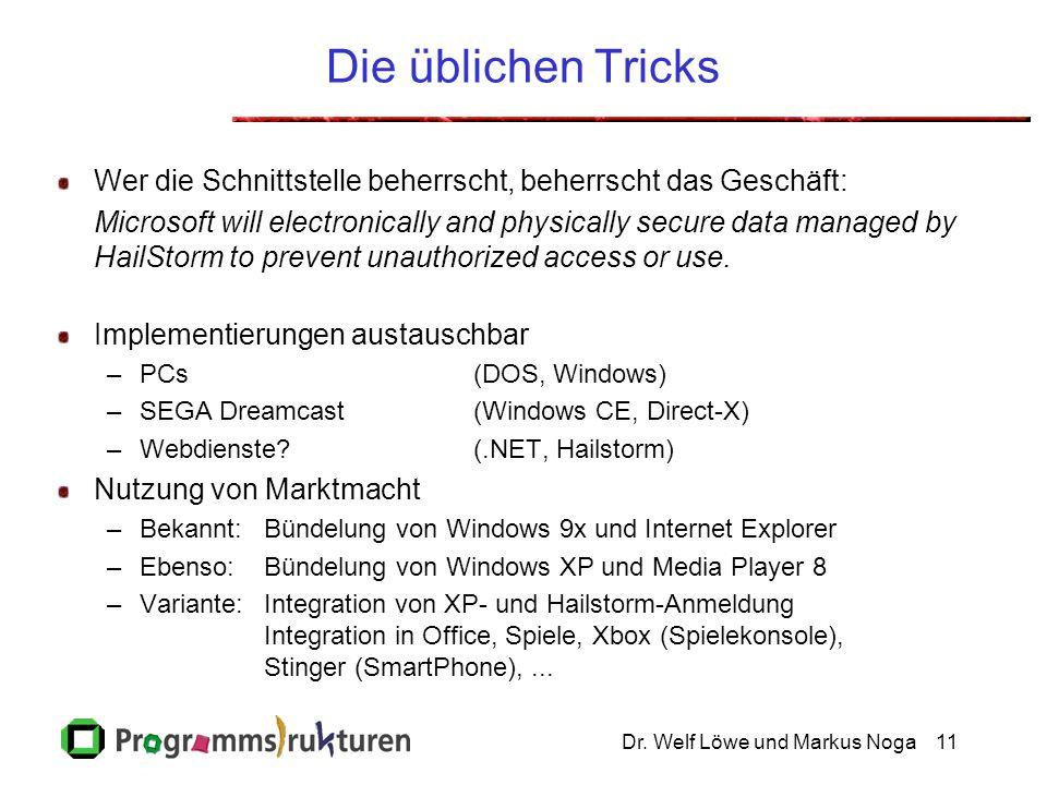 Dr. Welf Löwe und Markus Noga11 Die üblichen Tricks Wer die Schnittstelle beherrscht, beherrscht das Geschäft: Microsoft will electronically and physi