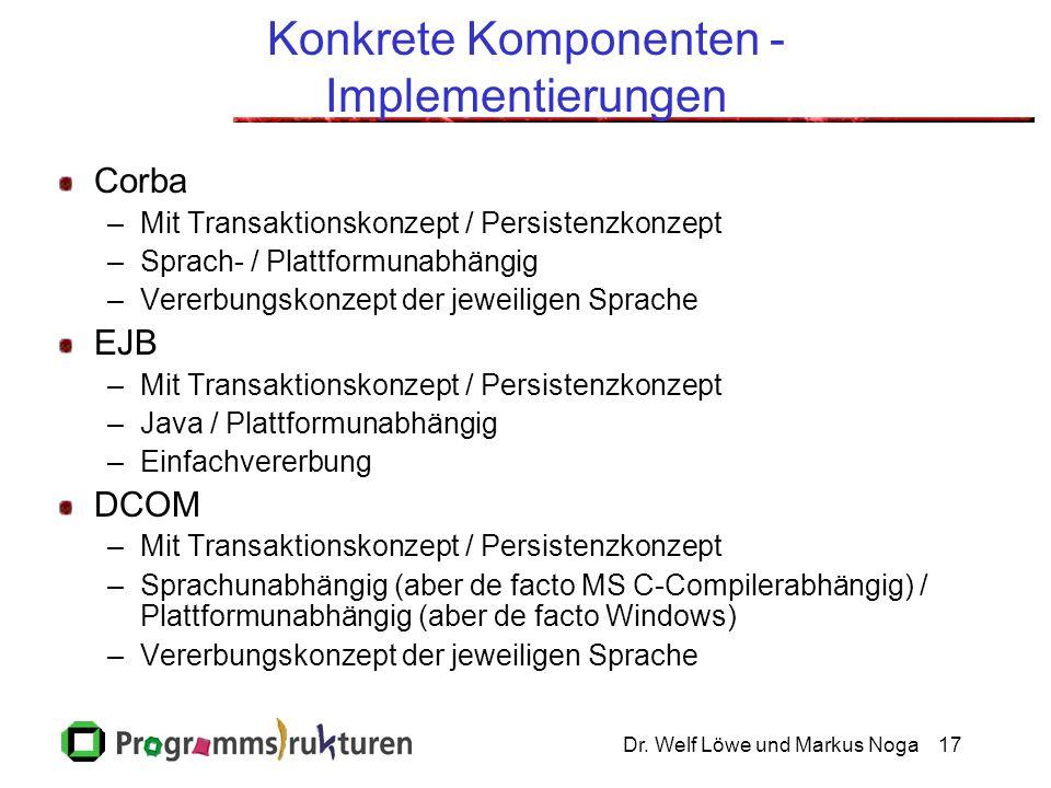 Dr. Welf Löwe und Markus Noga17 Konkrete Komponenten - Implementierungen Corba –Mit Transaktionskonzept / Persistenzkonzept –Sprach- / Plattformunabhä
