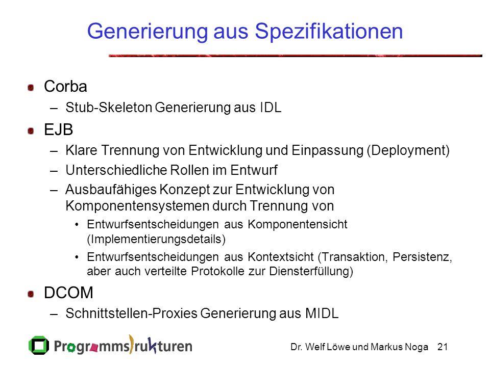 Dr. Welf Löwe und Markus Noga21 Generierung aus Spezifikationen Corba –Stub-Skeleton Generierung aus IDL EJB –Klare Trennung von Entwicklung und Einpa