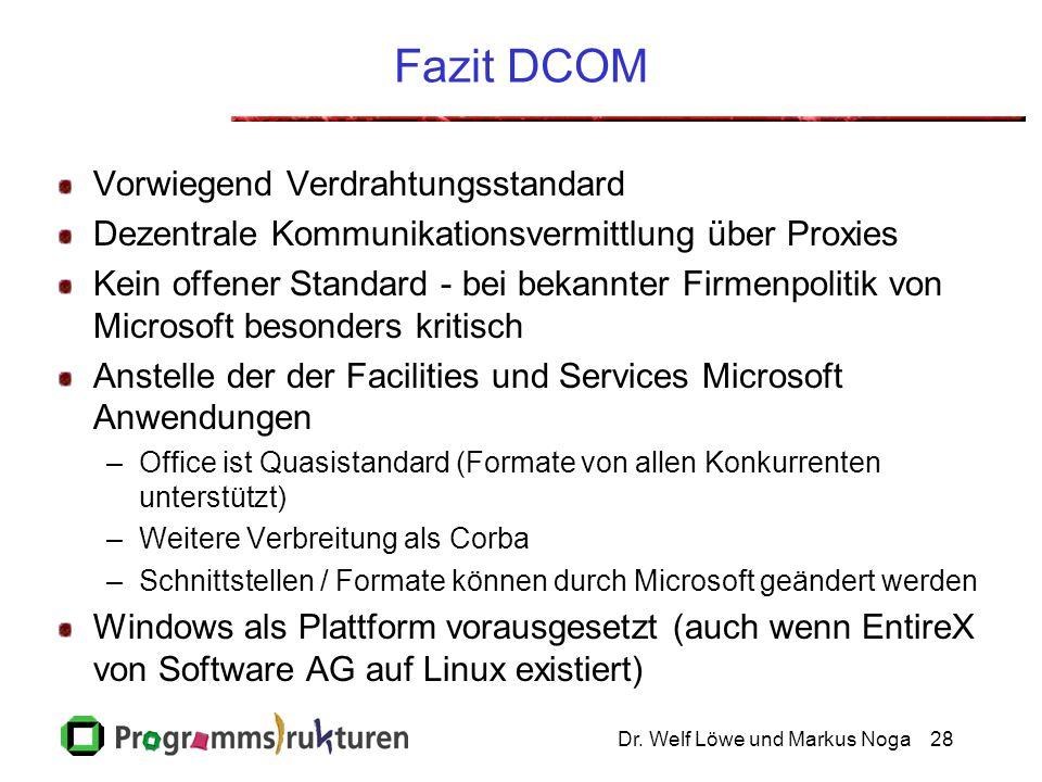 Dr. Welf Löwe und Markus Noga28 Fazit DCOM Vorwiegend Verdrahtungsstandard Dezentrale Kommunikationsvermittlung über Proxies Kein offener Standard - b