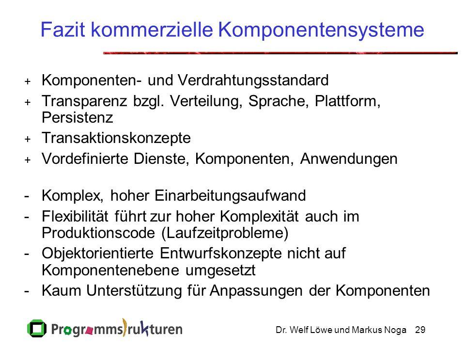 Dr. Welf Löwe und Markus Noga29 Fazit kommerzielle Komponentensysteme + Komponenten- und Verdrahtungsstandard + Transparenz bzgl. Verteilung, Sprache,