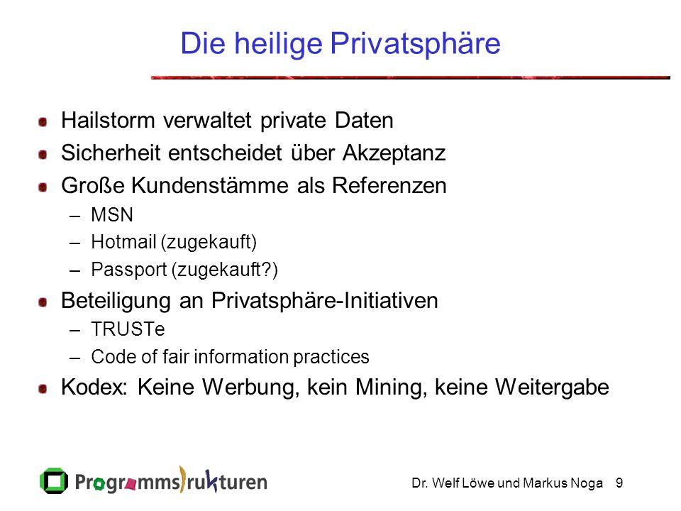 Dr. Welf Löwe und Markus Noga9 Die heilige Privatsphäre Hailstorm verwaltet private Daten Sicherheit entscheidet über Akzeptanz Große Kundenstämme als
