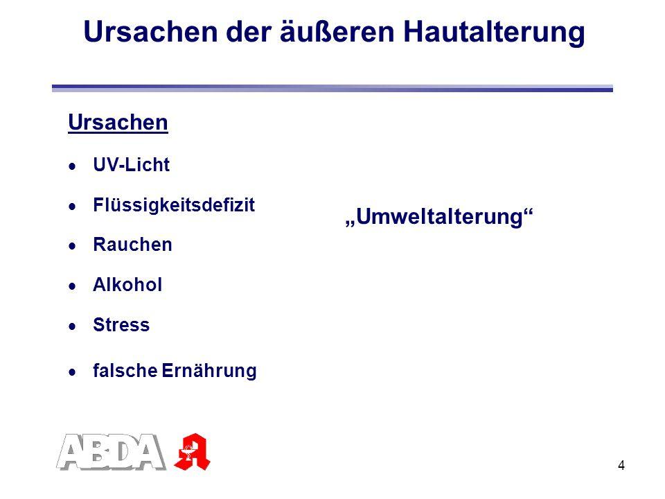 """4 Ursachen der äußeren Hautalterung """"Umweltalterung"""" Ursachen  UV-Licht  Flüssigkeitsdefizit  Rauchen  Alkohol  Stress  falsche Ernährung"""