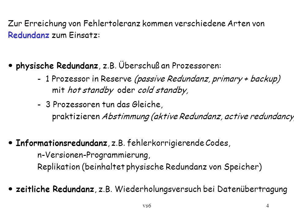 vs64 Zur Erreichung von Fehlertoleranz kommen verschiedene Arten von Redundanz zum Einsatz: physische Redundanz, z.B.