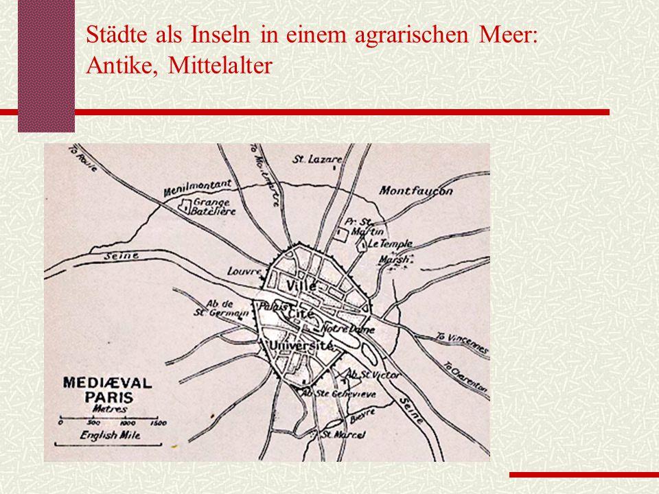 Städte als Inseln in einem agrarischen Meer: Antike, Mittelalter