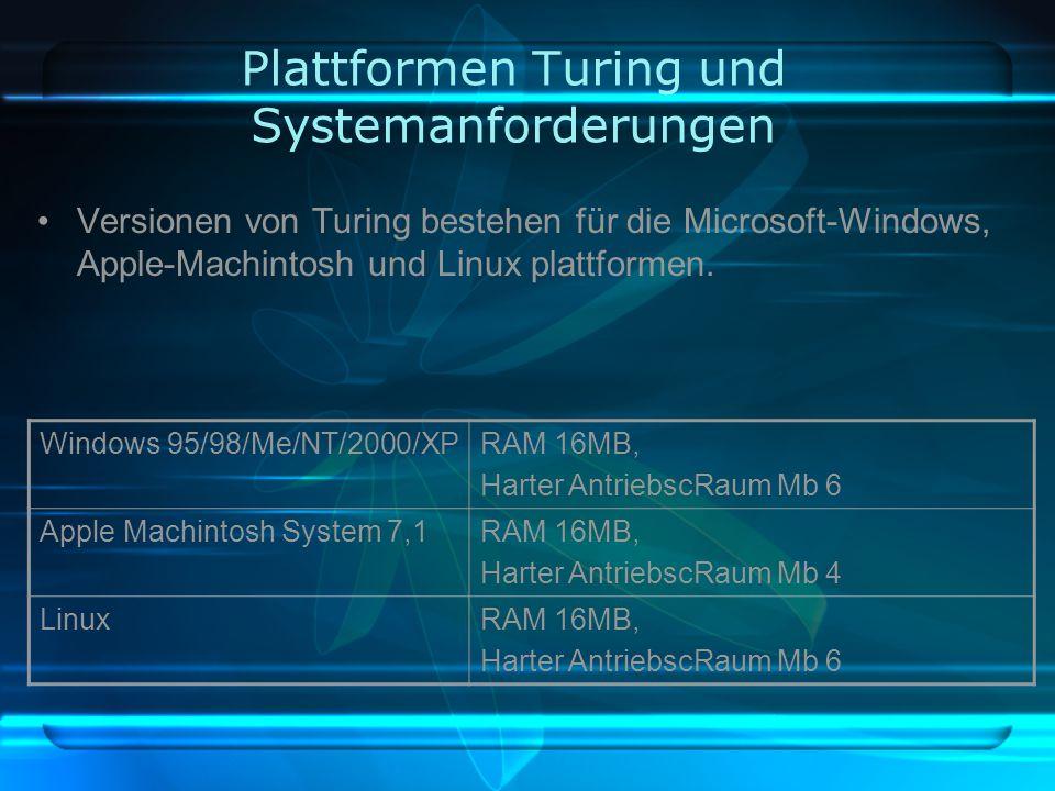 Plattformen Turing und Systemanforderungen Versionen von Turing bestehen für die Microsoft-Windows, Apple-Machintosh und Linux plattformen.