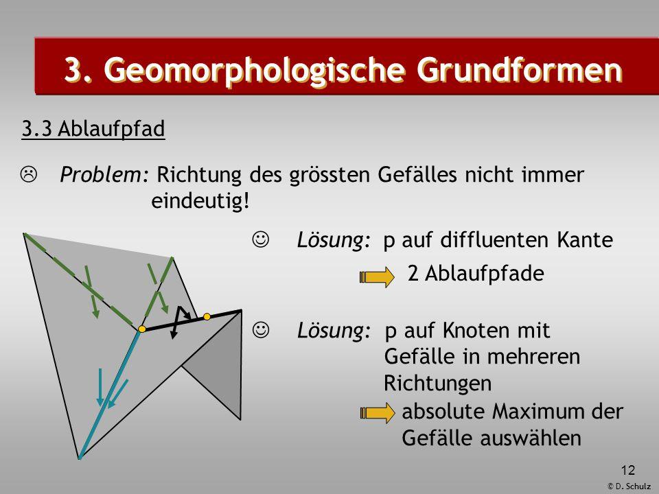 © D. Schulz 12 Lösung: p auf diffluenten Kante Lösung: p auf Knoten mit Gefälle in mehreren Richtungen 3. Geomorphologische Grundformen 3.3 Ablaufpfad