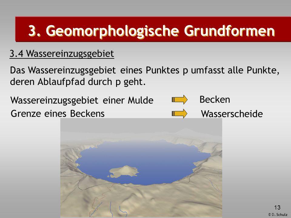 © D. Schulz 13 3. Geomorphologische Grundformen 3.4 Wassereinzugsgebiet Das Wassereinzugsgebiet eines Punktes p umfasst alle Punkte, deren Ablaufpfad