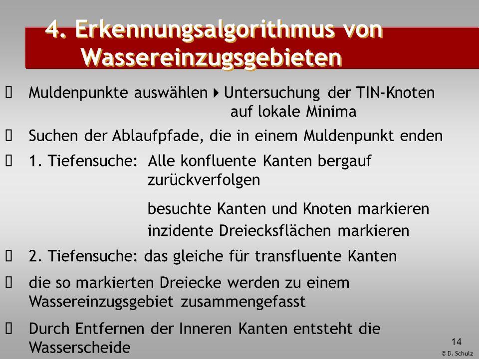 © D. Schulz 14  Muldenpunkte auswählen  Untersuchung der TIN-Knoten auf lokale Minima  Suchen der Ablaufpfade, die in einem Muldenpunkt enden  1.