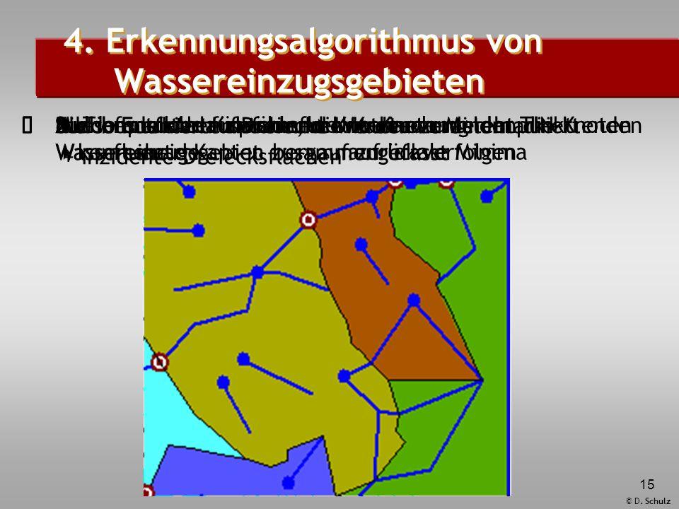 © D. Schulz 15  Muldenpunkte auswählen  Untersuchung der TIN-Knoten auf lokale Minima  Suchen der Ablaufpfade, die in einem Muldenpunkt enden  k