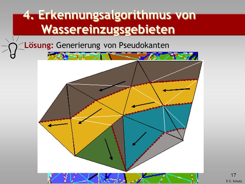 © D. Schulz 17 4. Erkennungsalgorithmus von Wassereinzugsgebieten  Lösung: Generierung von Pseudokanten
