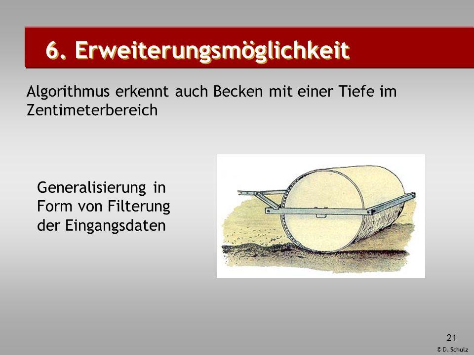 © D. Schulz 21 6. Erweiterungsmöglichkeit Algorithmus erkennt auch Becken mit einer Tiefe im Zentimeterbereich Generalisierung in Form von Filterung d