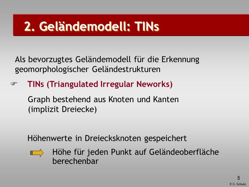 © D. Schulz 5 Graph bestehend aus Knoten und Kanten (implizit Dreiecke) Höhe für jeden Punkt auf Geländeoberfläche berechenbar Höhenwerte in Dreiecksk