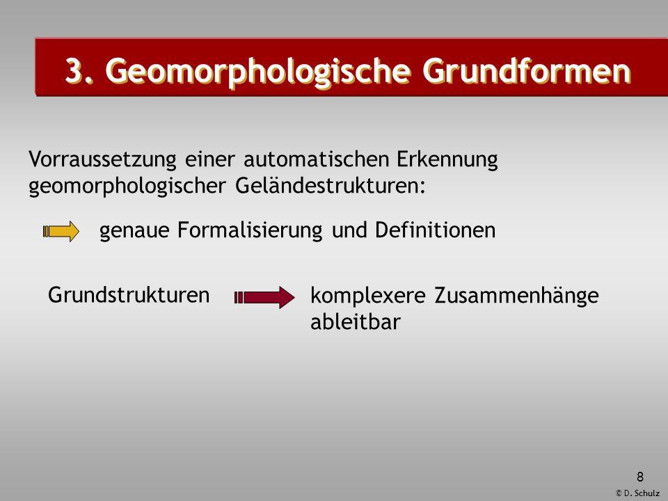 © D. Schulz 8 Grundstrukturen komplexere Zusammenhänge ableitbar 3. Geomorphologische Grundformen Vorraussetzung einer automatischen Erkennung geomorp