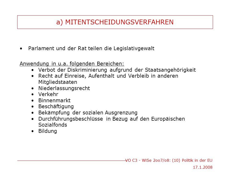 VO C3 - WiSe 2oo7/o8: (10) Politik in der EU 17.1.2008 a) MITENTSCHEIDUNGSVERFAHREN Parlament und der Rat teilen die Legislativgewalt Anwendung in u.a