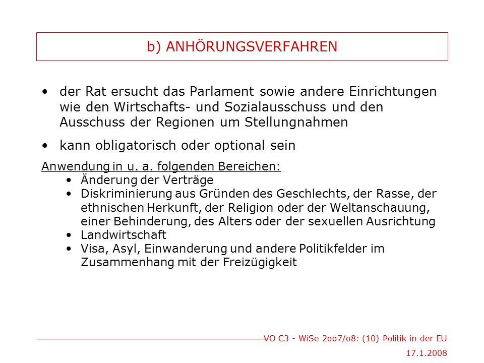 VO C3 - WiSe 2oo7/o8: (10) Politik in der EU 17.1.2008 b) ANHÖRUNGSVERFAHREN der Rat ersucht das Parlament sowie andere Einrichtungen wie den Wirtscha