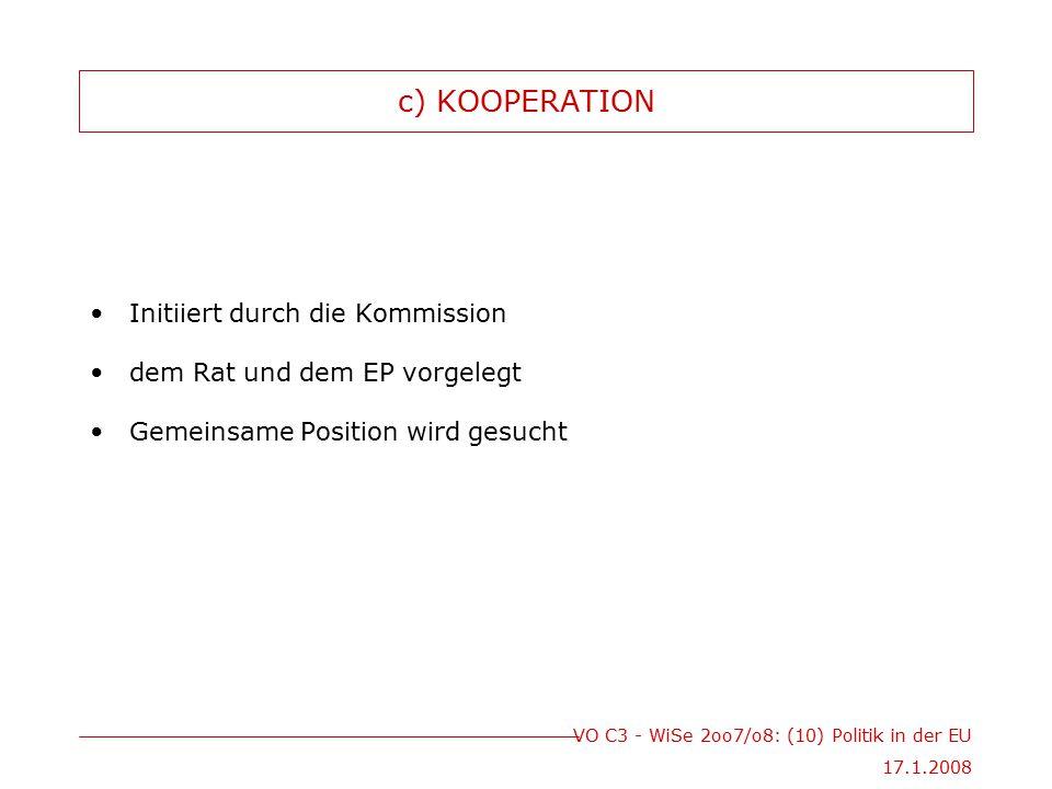 VO C3 - WiSe 2oo7/o8: (10) Politik in der EU 17.1.2008 c) KOOPERATION Initiiert durch die Kommission dem Rat und dem EP vorgelegt Gemeinsame Position wird gesucht