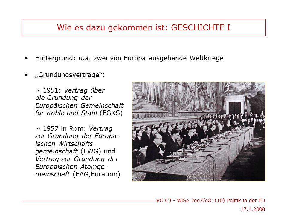 VO C3 - WiSe 2oo7/o8: (10) Politik in der EU 17.1.2008 Wie es dazu gekommen ist: GESCHICHTE I Hintergrund: u.a.