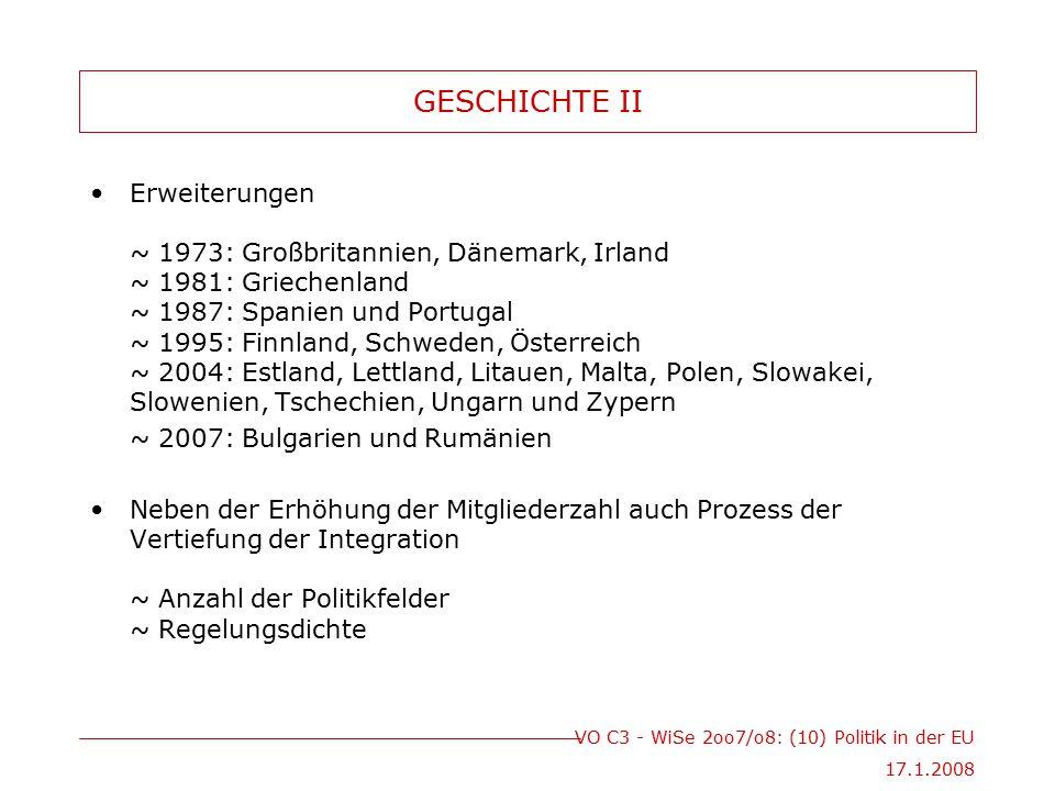 VO C3 - WiSe 2oo7/o8: (10) Politik in der EU 17.1.2008 GESCHICHTE II Erweiterungen ~ 1973: Großbritannien, Dänemark, Irland ~ 1981: Griechenland ~ 198