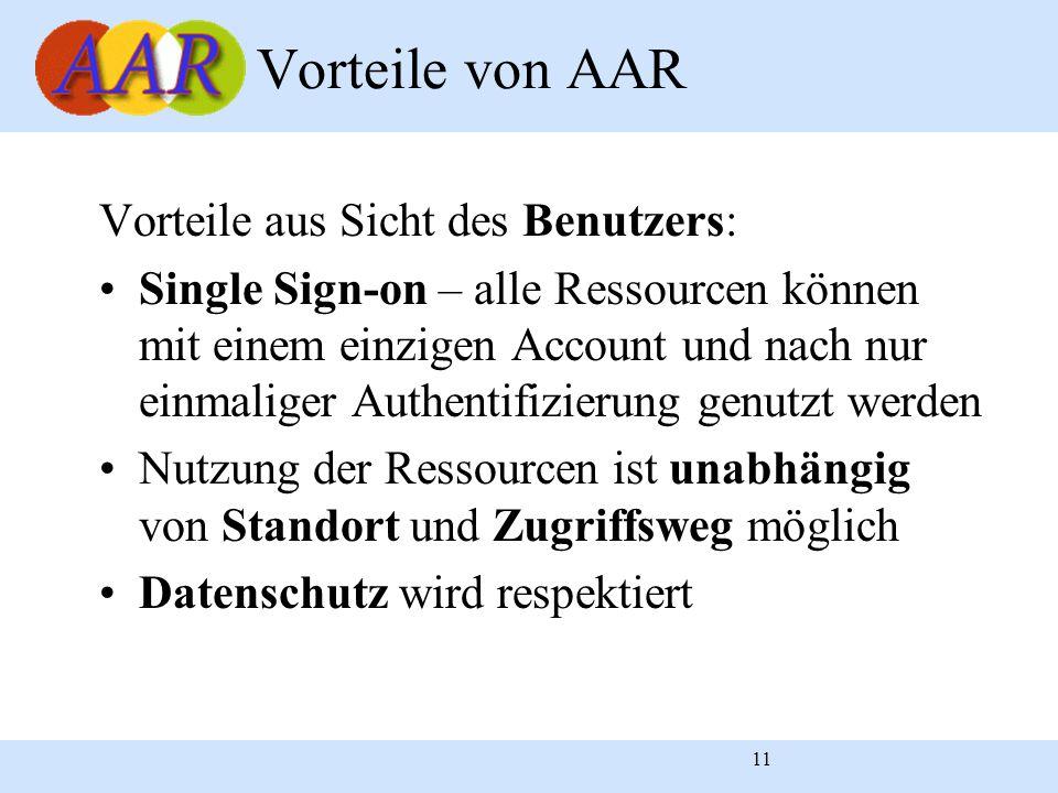 11 Vorteile aus Sicht des Benutzers: Single Sign-on – alle Ressourcen können mit einem einzigen Account und nach nur einmaliger Authentifizierung genutzt werden Nutzung der Ressourcen ist unabhängig von Standort und Zugriffsweg möglich Datenschutz wird respektiert Vorteile von AAR