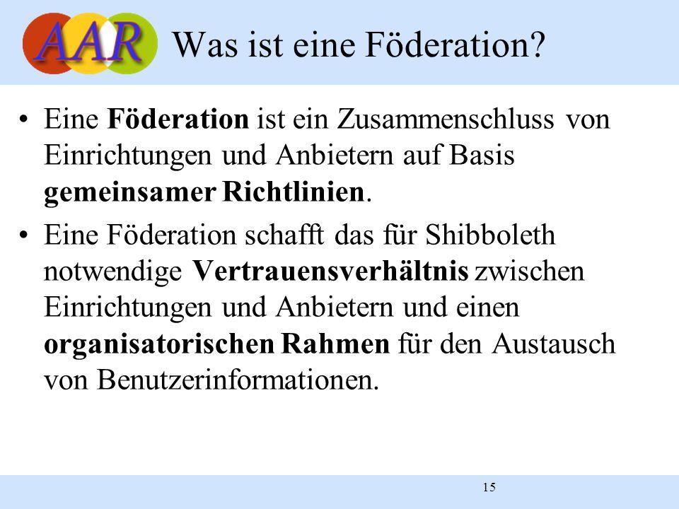 15 Eine Föderation ist ein Zusammenschluss von Einrichtungen und Anbietern auf Basis gemeinsamer Richtlinien. Eine Föderation schafft das für Shibbole
