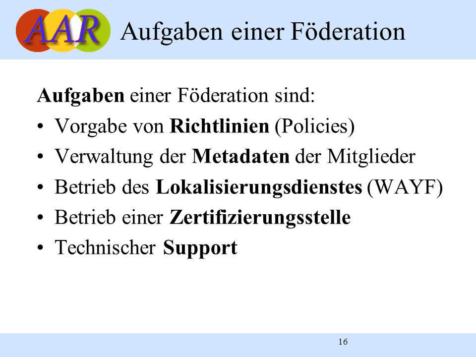 16 Aufgaben einer Föderation sind: Vorgabe von Richtlinien (Policies) Verwaltung der Metadaten der Mitglieder Betrieb des Lokalisierungsdienstes (WAYF