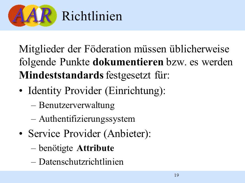 19 Richtlinien Mitglieder der Föderation müssen üblicherweise folgende Punkte dokumentieren bzw. es werden Mindeststandards festgesetzt für: Identity