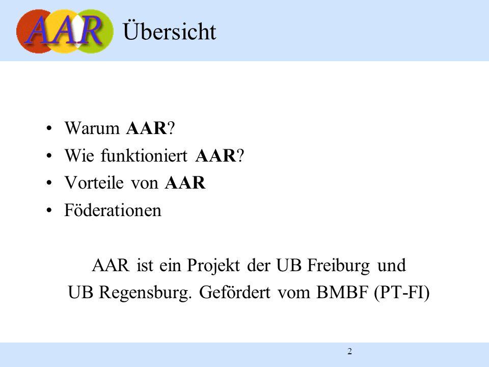 2 Warum AAR? Wie funktioniert AAR? Vorteile von AAR Föderationen AAR ist ein Projekt der UB Freiburg und UB Regensburg. Gefördert vom BMBF (PT-FI) Übe