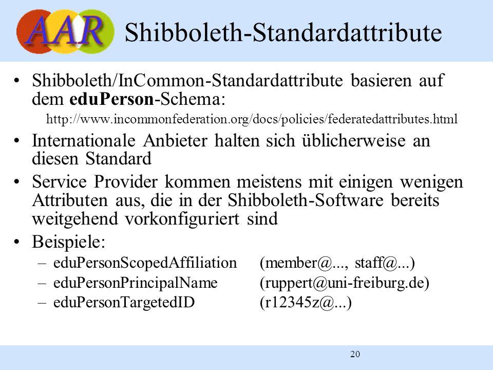 20 Shibboleth-Standardattribute Shibboleth/InCommon-Standardattribute basieren auf dem eduPerson-Schema: http://www.incommonfederation.org/docs/policies/federatedattributes.html Internationale Anbieter halten sich üblicherweise an diesen Standard Service Provider kommen meistens mit einigen wenigen Attributen aus, die in der Shibboleth-Software bereits weitgehend vorkonfiguriert sind Beispiele: –eduPersonScopedAffiliation(member@..., staff@...) –eduPersonPrincipalName(ruppert@uni-freiburg.de) –eduPersonTargetedID(r12345z@...)